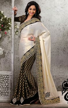 Picture of Impressive off White and Black Designer Wedding Saree Online
