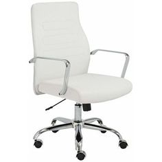 Fenella Office Chair with White Leatherette Upholstery by Euro Style High Back Office Chair, Office Chair Without Wheels, Swivel Office Chair, Mesh Office Chair, Ergonomic Office Chair, Office Chairs, Office Desks, Office Furniture, Polywood Adirondack Chairs