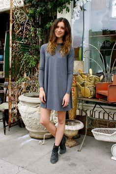 Fall Street Style - Los Angeles Fashion Photos I so badly want a plain T-shirt dress