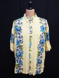 Retro ONE-OFF Hawaiian Aloha Floral Hipster Indie Party Shirt 2XL