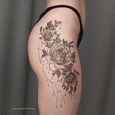Tattoo Valera Kot - tattoo's photo In the style Graphics, Female, Flowe Side Hip Tattoos, Hip Thigh Tattoos, Floral Thigh Tattoos, Hip Tattoos Women, Flower Tattoos, Side Leg Tattoo, Ankle Tattoos, Pretty Tattoos, Beautiful Tattoos