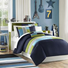 Pipeline Casual of an Urban Feel of Navy Blue, Khaki, Teal and Green with Twill Tape Details Comforter Sets by Mizone