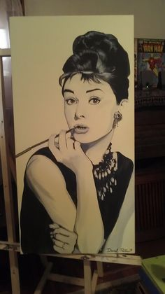 Items similar to Original Audrey Hepburn Painting on Etsy Audrey Hepburn Painting, Cool Paintings, Actresses, The Originals, Trending Outfits, Etsy, Vintage, Art, Faces