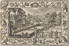 Adriaen Collaert   Plukken van koren op de sabbat, Adriaen Collaert, Eduwart van Hoeswinckel, 1582 - 1586   Landschap met een korenveld. Centraalt vertelt Christus aan de Farizeeën dat zijn apostelen de sabbat niet ontwijden als zij zich met korenaren tegoeddoen uit het veld om hun honger te stillen. Op de achtergrond plukken de apostelen korenaren. De prent heeft een ornamentele lijst met bloemen en dieren. Hij maakt deel uit van een vierentwintigdelige serie van landschappen met Bijbelse…