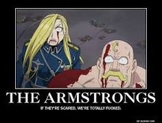 Major Alex Louis Armstrong and his sister Major General Olivier Mira Armstrong actually looking scared.  Fullmetal Alchemist Brotherhood.