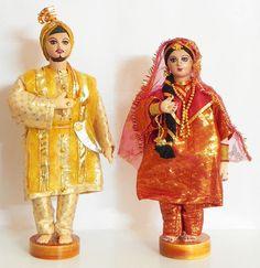 Bridal Couple from Punjab, India - Costume Cloth Dolls