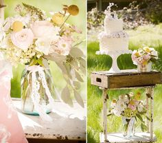 Pretty blooms ... love the trailing ribbons at this vintage wedding #vintage #wedding