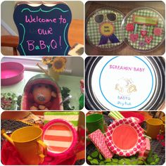 Couples BaByQ Shower for girl. Non-traditional Mom so in lieu of corsage, I made pins for Mom & Dad too! BaByQ dry rub in 1/2 pt jelly jars for party favors. Served pink lemonade in Mason jars. I made table runners out of paisley bandana fabric w big ric rac in same colors. Stickers, plates, napkins, straws, serving bowls, trays from Michaels.