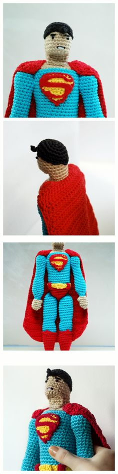 Amigurumi pattern for a tall crochet doll of Superman by #tinyAlchemy