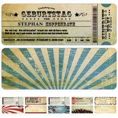 Einladungskarten zum Geburtstag als Eintrittskarte im Vintage-Stil mit Abriss – Sonderformat - Kartenparadies-Koeln.de - individuelle Einladungskarten für Hochzeiten, Geburtstage und viele weitere Anlässe.