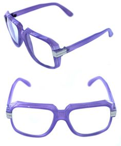db9b6a3c34a8 Men s Hip Hop 80 s Vintage 607 Clear Lens Eye Glasses RUN DMC Purple Silver