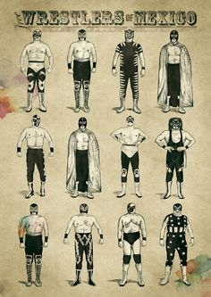Free Wrestlers of Mexico by Inga Vierke, via Behance Wrestling Singlet, Wrestling Shoes, Wrestling Posters, Sport Gymnastics, Olympic Gymnastics, Olympic Games, Luchador Mask, Mexico Party, Mexican Wrestler