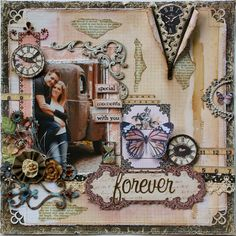 Scrapbook layout I made as a gift I will be framing for my nephew and his new bride.  I used Dusty Attic Chipboard designs to embellish this page (click on photo for details) ~ Gabrielle Pollacco