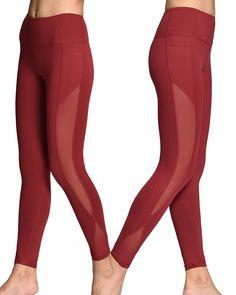 Burgundy leggings with side pocket: M