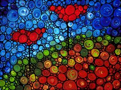 Mosaic Art PRINT from Painting Love Runs Deep Blue Colorful Flower Floral Poppy Heart CANVAS Ready To Hang Large Artwork Stained Glass Look