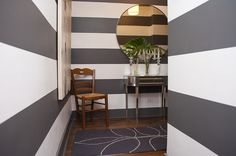 75 Bank Street #3K apartment for sale in West Village, Manhattan,gray and white stripes painted in the foyer/hallway, small nyc apartment entry, compact foyer, small spaces