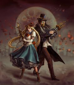 When it comes to alternate universe, this very creative art by anotherwanderer would take the bag. Sailor Moon and Tuxedo Mask are both depicted as to live in the Steampunk environment. - The magic that Sailor Moon brings Sailor Moon S, Sailor Neptune, Sailor Mars, Sailor Saturn, Studio Ghibli, Nerd Love, My Love, Desu Desu, Bd Art