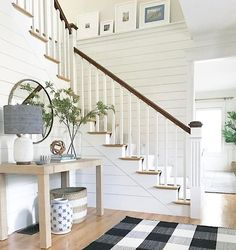 "144 Likes, 13 Comments - 2 Doors Down Design (@2doorsdowndesign) on Instagram: ""Every inch of this adorable entry & stairwell is perfection! The buffalo check rug, the striped…"""