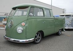 VW type II transporter _ green double cab_3/4 front view_The 2012 O.C.T.O  show_June 9, 2012