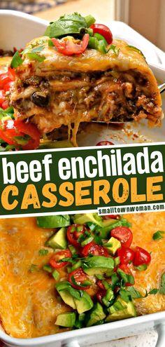 Easy Beef Enchiladas, Enchilada Casserole Beef, Ground Beef Enchiladas, Homemade Enchilada Sauce, Casserole Recipes, Beef Enchilada Recipes, Easy Mexican Casserole, Mexican Dishes, Mexican Food Recipes
