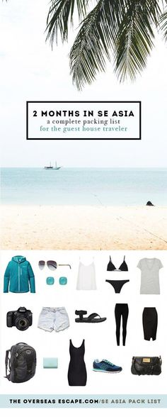 2 Months in SE Asia: A Complete Packing List for the Guest House Traveler • The Overseas Escape #backpackingchecklist Travel Packing Outfits, Packing List For Travel, New Travel, Asia Travel, Travel Style, Travel Usa, Packing Lists, Travel Fashion, Travel Tips