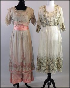Two early 1900s day dresses: pink silk and lace and ivory chiffon.