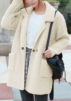 Oversized Beige Sweater Cardigan - Top