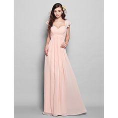 Floor-length Chiffon Bridesmaid Dress - Pearl Pink Plus Sizes / Petite Sheath/Column Sweetheart – USD $ 79.99
