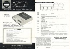1960 manual for the Webcor 3 inch reel portable tape recorder in Reel2ReelTexas.com's vintage recording collection