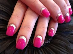 Acrylic infill with hot pink gel polish and silver polish nail art