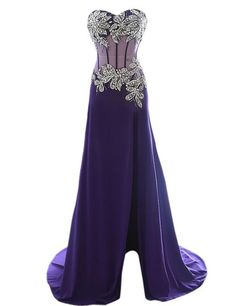 Tidetell 2015 Prom Dresses with Slit Purple Rhinestone Party Evening Gowns: Clothing