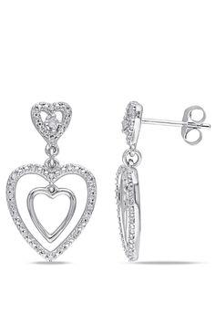 Eclipse 0.142 Ct Diamond Heart Earrings In 10k White Gold