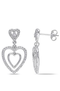 Eclipse 0.142 Ct Diamond Heart Earrings In 10k White Gold