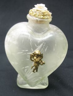 "6"" antique heart shaped store display perfume bottle frost art glass gold cherub"