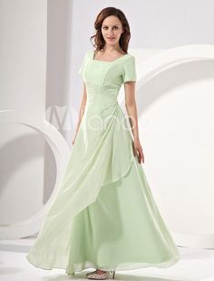 Sage Short Sleeves Chiffon Mother Of Bride And Groom Dress. Every Mum wants to be beautiful and elegant to attend the wedding ceremony of her sons or daughter witnessing the happiest moment of their kids and recalling the memory of their wedding. This light green short sleeves mother .. . See More Mother of the Bride Dresses at http://www.ourgreatshop.com/Mother-of-the-Bride-Dresses-C928.aspx