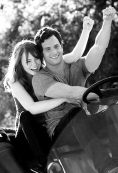 Emma Stone and Penn Badgley ( Voilet and Todd)