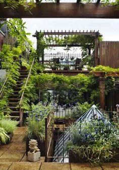 jardin sur toit à New York avec végetaux suspendus