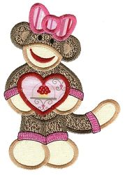 Valentine Sock Monkey 6 Applique - 2 Sizes! | Valentine's Day | Machine Embroidery Designs | SWAKembroidery.com Designs by Juju