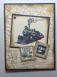 Stampin Up all occasion card. Traveler, Postage Due, and World  Map Stamps, Kristy McNiven
