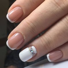 cute french nails Tips White French Nails, French Tip Nails, White Nails, White Nail Designs, Best Nail Art Designs, Nail Art Rhinestones, Rhinestone Nails, Love Nails, Red Nails