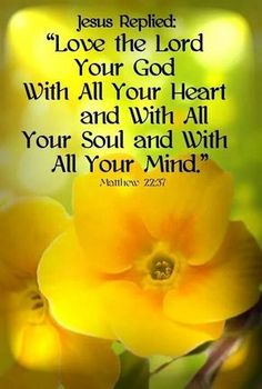 "❥ Matthew ~Jesus replied, ""Love the Lord your God with all your Heart and with all your Soul and with all your Mind."" Loveeee this verse. Biblical Quotes, Prayer Quotes, Religious Quotes, Bible Verses Quotes, Bible Scriptures, Spiritual Quotes, Faith Quotes, Family Scripture, Faith Bible"