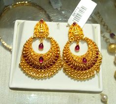 1 Gram Gold Jewellery, Gold Jewellery Design, Temple Jewellery, Diamond Jewellery, Gold Jewelry, Jewelery, Gold Jhumka Earrings, Gold Earrings Designs, Gold Necklaces