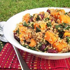 Sweet potato, kale, and cranberry quinoa with balsamic dressing.