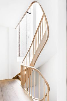Sculptural wooden stairway