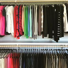 This is what all closets should look like! : @poporganizing #closet #colorcoding #clothes #organization Reposted Via @doneanddonehome