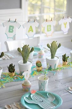 Throw an Easy Cactus Cutie Baby Shower! These adorable little cacti were the inspiration for this new baby shower theme — A Cactus Cutie Baby Shower! Idee Baby Shower, Baby Shower Games, Baby Shower Parties, Baby Boy Shower, Baby Showers, Party Box, Deco Cactus, Babyshower Party, Baby Party