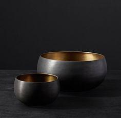 Matte Black & Brass Vessel - Bowl