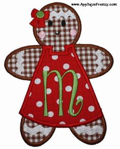 Gingerbread Girl Applique Design Applique Frenzy Christmas Applique, Christmas Sewing, Christmas Embroidery, Applique Templates, Applique Patterns, Applique Designs, Sewing Machine Embroidery, Machine Applique, Quilting Projects