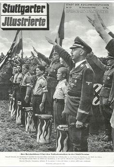 Heinrich on a magazine cover with Hitler Youth. From page 156 of Martin Mansson's book Heinrich Himmler: A Photographic Chronicle of Hitler's Reichführer-SS owned by Christian Habisohn. Aryan Race, Ww2 Posters, Germany Ww2, Military Photos, Military History, Man Of War, Total War, The Third Reich, World War Two