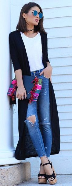 #fall #trending #outfits | Black and White + Denim + Pop Of Color